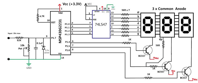 MSP430 BASED 30V VOLT METER