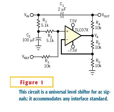 Circuit level-shifts ac signals