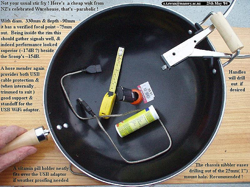Make 2.4GHz parabolic mesh dishes from cheap but sturdy Chinese cookware scoops