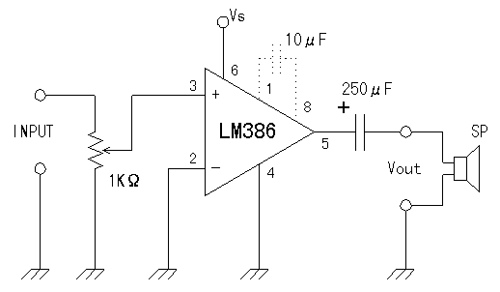 Simple LM386 audio amplifier