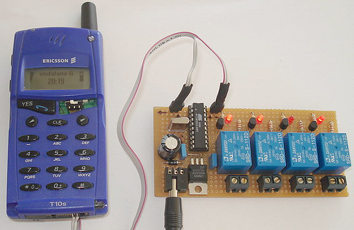 SMS controller with ATtiny2313 and T10s mobile phone