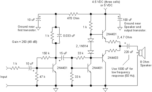 4-Transistor Amplifier for Small Speaker Applications