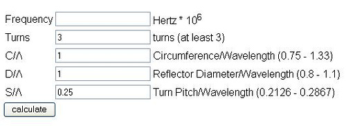 VK2ZAY Helical Antenna Calculator