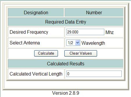 Amateur Vertical Antenna Calculator