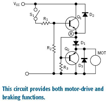 Circuit forms dc-motor switch with brake
