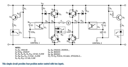 Motor-control scheme yields four positions with two outputs