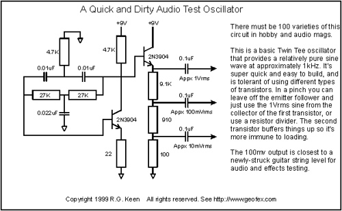 A Quick and Dirty Audio Test Oscillator