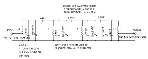 29.85 MHZ bandpass filter schematic