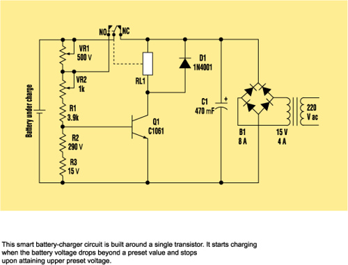 Build A Smart Battery Charger Using A Single-Transistor Circuit