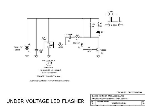 Low battery voltage flasher