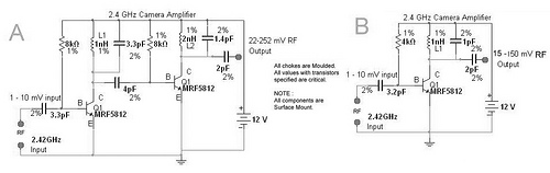 2.4 GHz RF Pinhole Camera Amplifiers