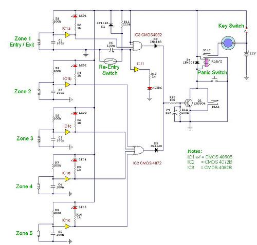 5 Zone Alarm Circuit