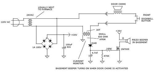 Basement doorbell beeper
