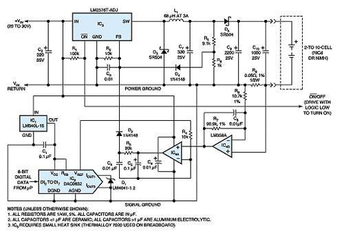 Programmable current source powers charger