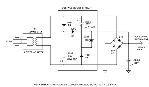 Caps provide voltage boost to series regulator