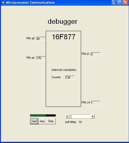 In-circuit debugging using PIC16F877