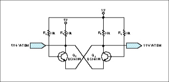 Two transistors form bidirectional level translator