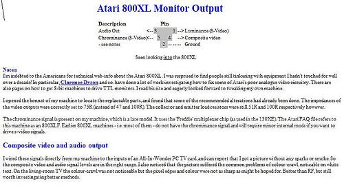 Atari 800XL Monitor Output