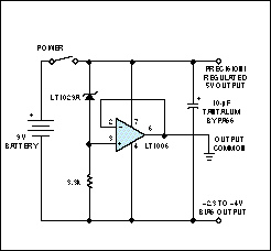 Op amp makes precise 9V-battery splitter