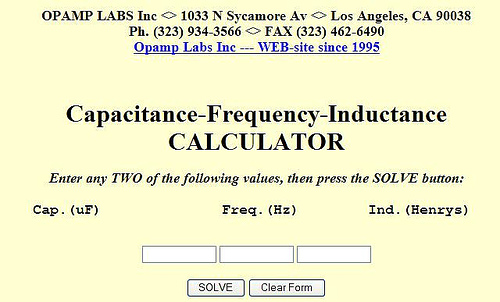 Capacitance-Frequency-Inductance calculator