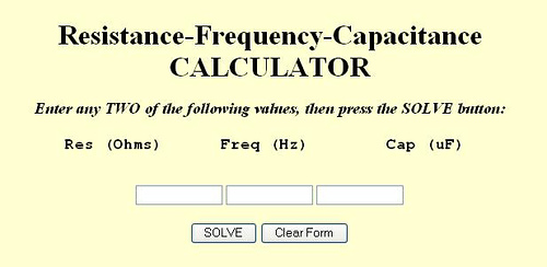 Resistance-Frequency-Capacitance calculator