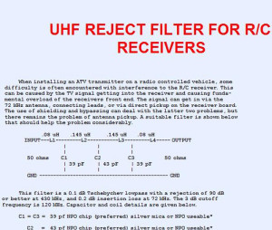 ATV rejection filter for R/C applications