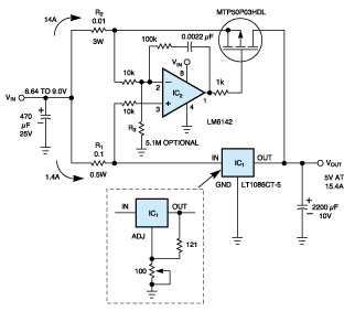 MOSFET circuit ups regulator output current