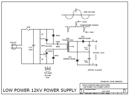 Low power 12,000 volt power supply