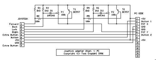 Convert Atari-style digital joystick to PC joystick port