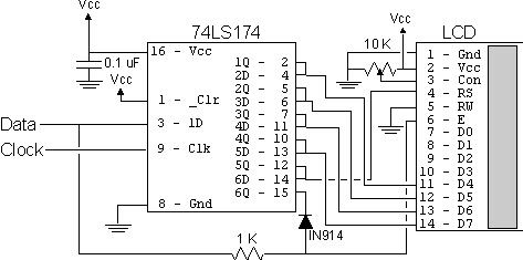 2-wire LCD interface using the PIC16C84 microcontroller
