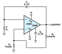 Current-feedback amp yields simple oscillator