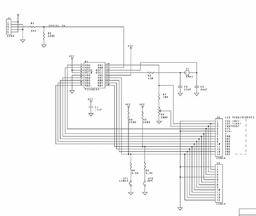LCD to PIC16C54 schematic