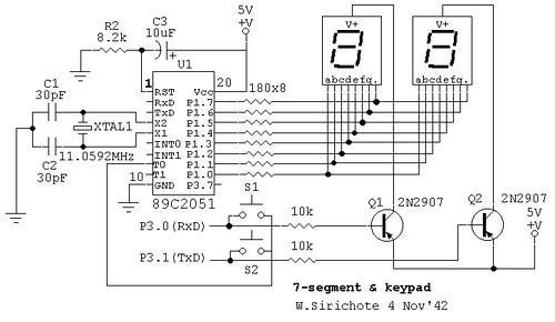 Scanning 7-segment display and keypad