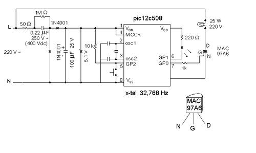PIC12C508 Night-light saver