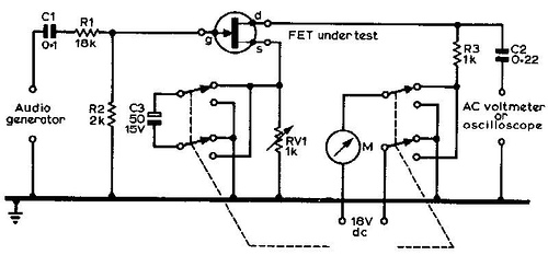 Measuring mutual conductance of FET