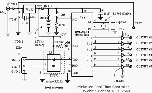 AT89C2051 real-time controller