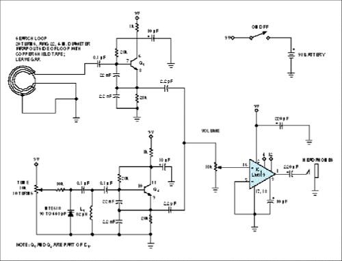 Metal detector uses single IC
