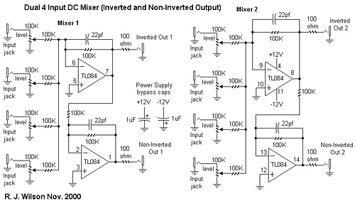 Dual 4 Channel DC Mixer