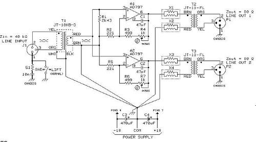 JT-10B-D Used in Line Level 2-Way Splitter/Isolator