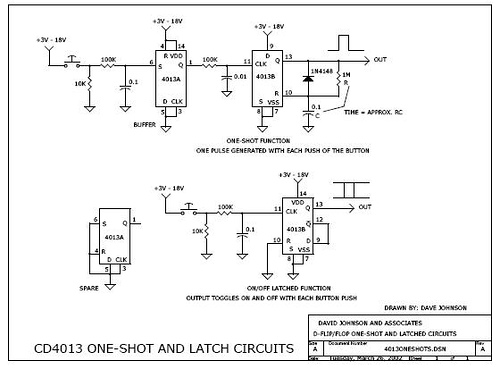 One-shot and latch circuit using CD4013