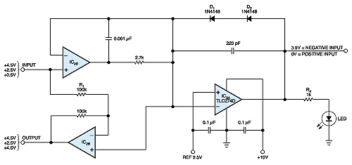 Op-amp rectifier signals input state