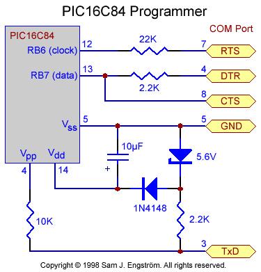 PIC16C84 programmer