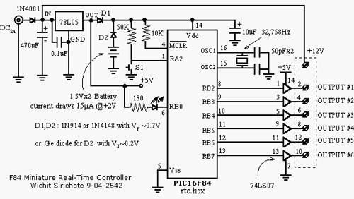 PIC16F84 miniature real-time controller