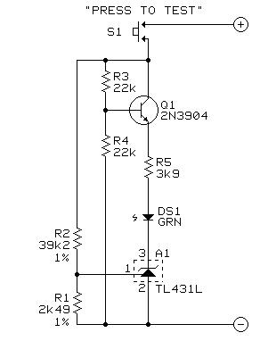 Phantom power battery test circuit