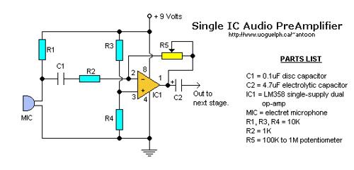 Single IC Audio Preamplifier