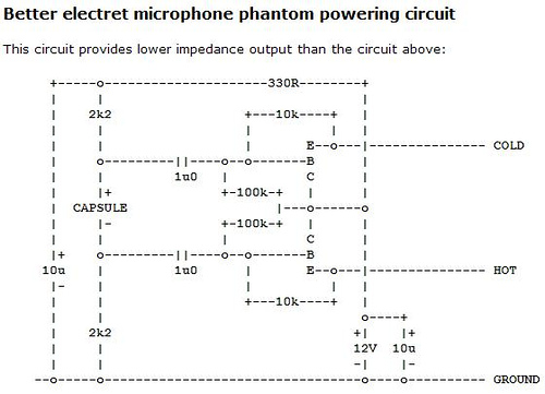 Electret microphone powering circuits