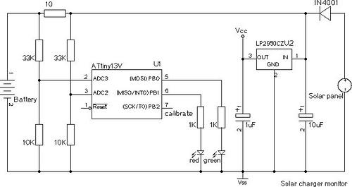 Atmel Solar Panel Battery Charger by ATtiny13V