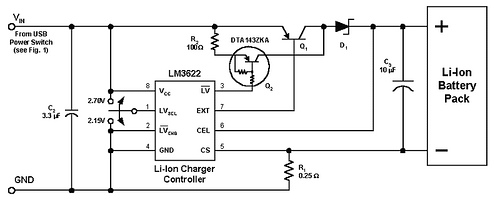 USB Powered Lithium Ion Battery Charger by LM3622