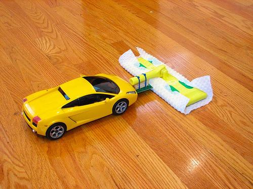 Turn an RC car into a floor sweeper