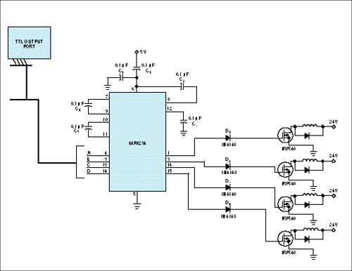 RS-232C line-driver IC drives power MOSFETs